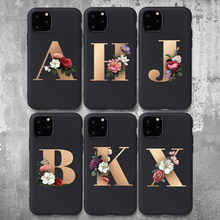 Custom Telefoon Case Voor Iphone 11Pro Max Brief Bloemen Black Soft Tpu Case Voor Iphone X Xs Xr 6 S 7 8 Plus 5 Se Hoge Kwaliteit Cover(China)