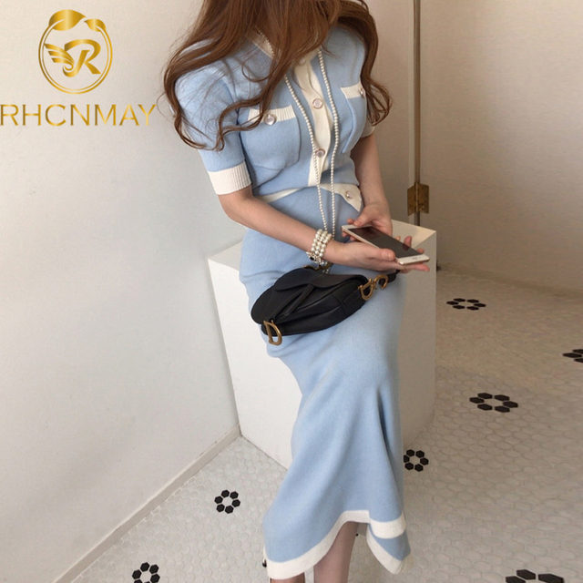Elegant Knitted 2 Pieces Sets Single Breasted Short Sleeve O-neck Top + High Waist Long Skirt 1