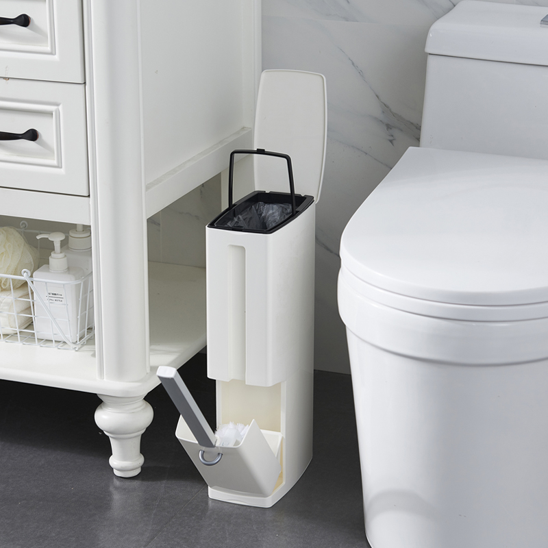 Multi-function Bathroom Waste Bin Toilet Brush Integrated Sets With Flip Handle Liner Trash Can Home Bathroom Supplies