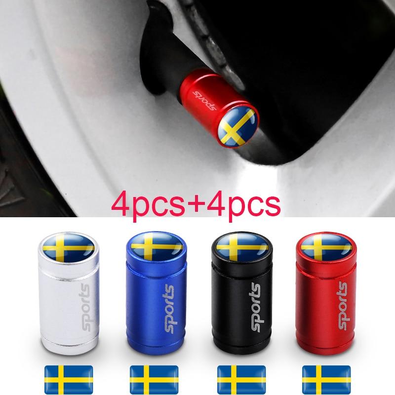 8Pcs Swedish Flag 3D Epoxy Car Sticker Sweden National Emblem Wheel Tire Valve Caps For Volvo V70 XC40 XC60 90 S60 V60 VW Golf