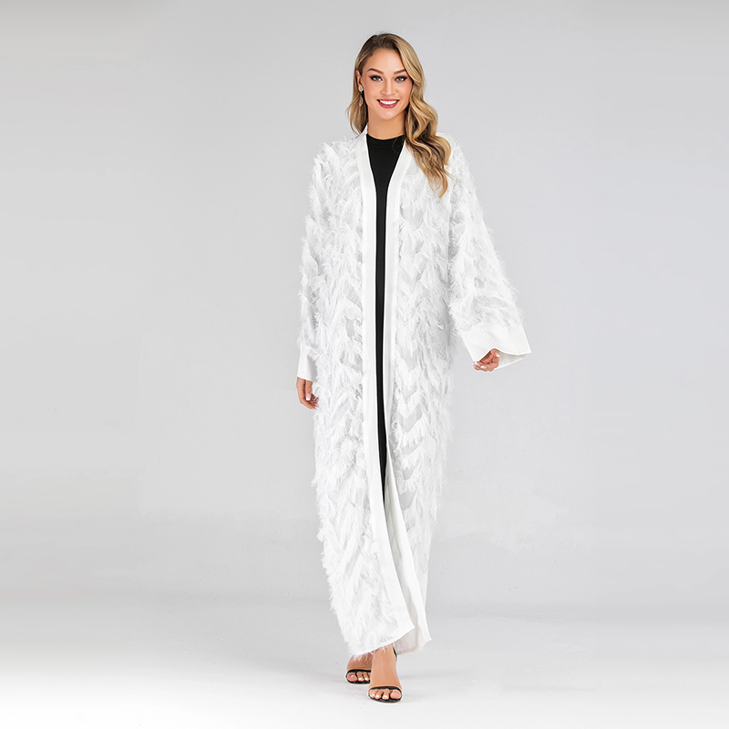 Tassel White Abaya Kimono Turkish Muslim Hijab Dress Abayas For Women Kaftan Dubai Oman Caftan Islamic Clothing Femme Musulman