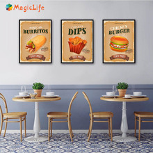 Burger Burritos Chicken Dips Try Me Quotes Snack Bar Wall Art Canvas Painting Nordic Posters and Prints Wall Pictures Unframed цена