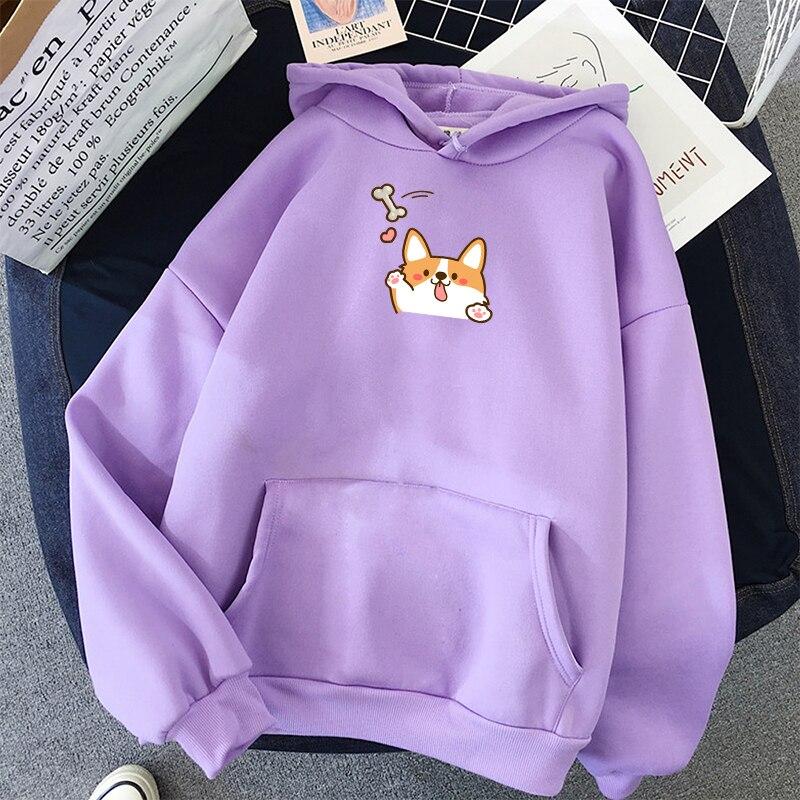 Winter Women Corgi Dog Print Kawaii Hoodies O Neck Plus Velvet Solid Colors Sweatshirt Japanese Harajuku Style Autumn Pullover