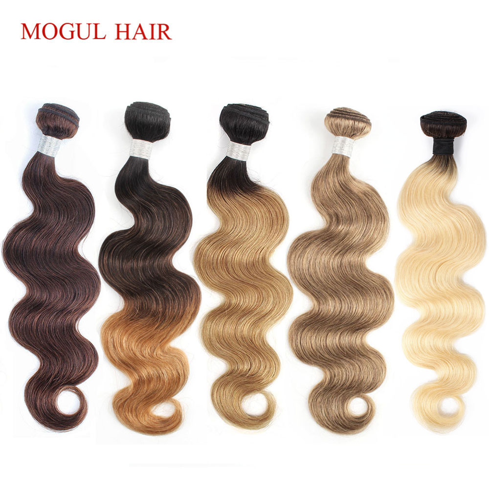 Mogul Hair 1 Bundle Body Wave Color 8 Ash Blonde 1B 27 Ombre Honey Blonde Color 613 1B 4 27 Indian Non Remy Human Hair Extension