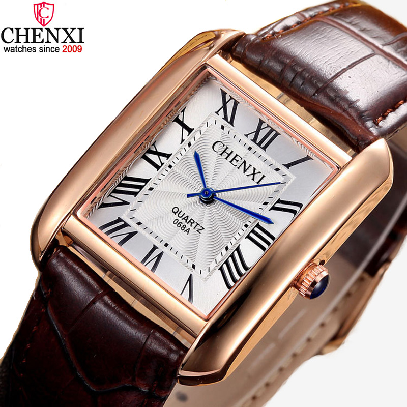 Luxury Brand Chenxi Men Women Casual Quartz Watches Retro Square Design Roman Numerals Minimalism Leather Strap Dress Watch