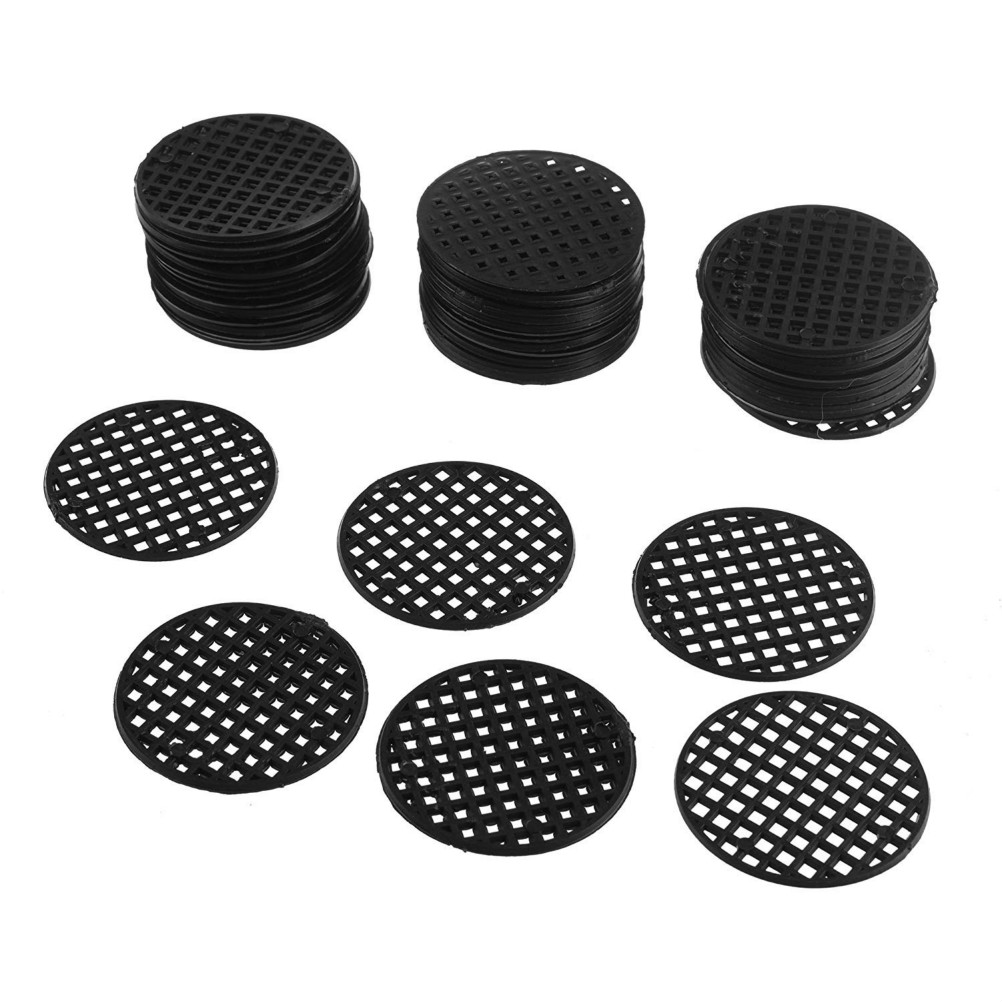 50 Pcs Flower Pot Hole Mesh Pad Bonsai Pot Bottom Grid Mat Bottom Mat Prevent Soil Loss Breathable Gasket (Black)