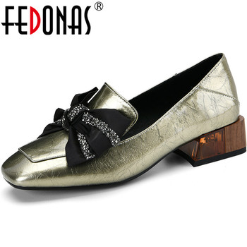 FEDONAS Newest Sweet Butterfly Knot Women Shoes Party Wedding Chunky Heels Pumps Genuine Leather 2020 Summer Autumn Shoes Woman