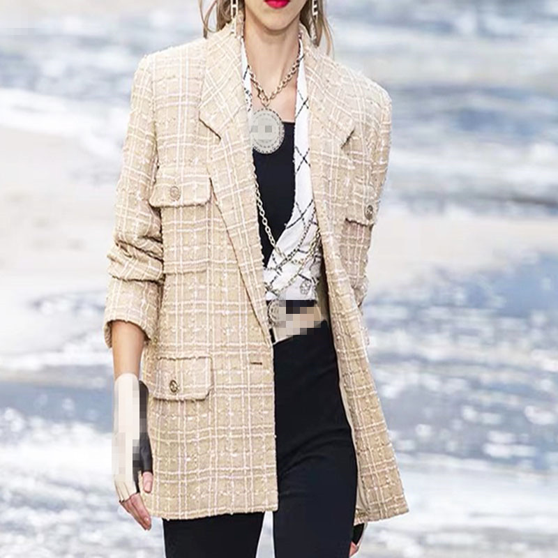 Blazer Women Jackets Wind-Tweed Winter High-Quality Single-Breasted Small New And Fragrance