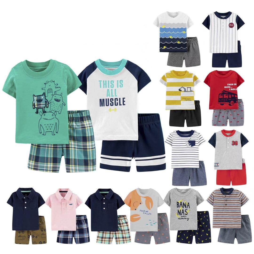 2020 Summer Cotton Children Clothing Sets  Baby Boys Girls 2pcs Shirt+shorts Baby Infants Short Sleeve Kids Clothes Sports Sets