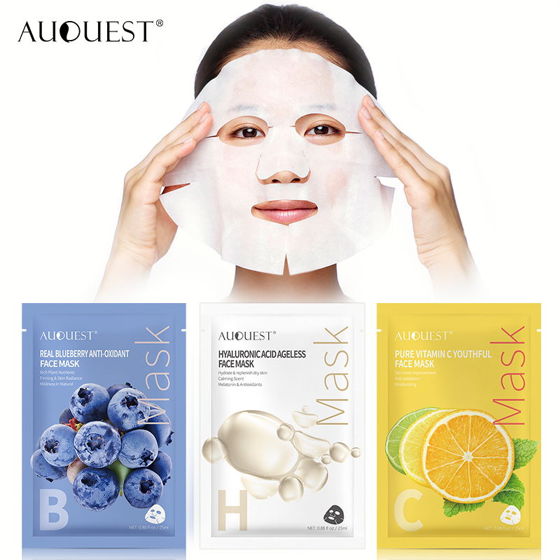 AuQuest Food Sheet Masks Facial Vitamin Collagen Natural Fruit Hyaluronic Acid Serum Face Mask Moisturizer Skin Care 3PCS