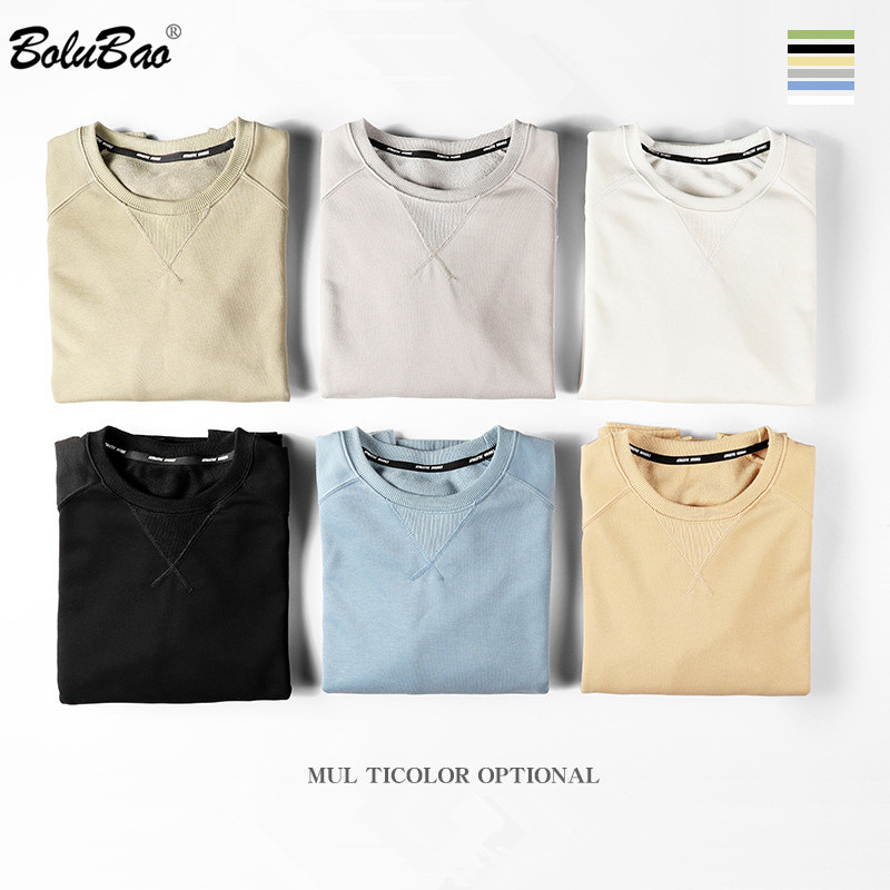 BOLUBAO Fashion Brand Men Hoodies Sweatshirts Men's O-Neck Wild Sweatshirt Solid Color Cotton Hoodies Sweatshirt Male