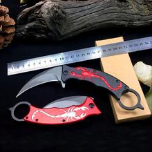 Odkryty Karambit nóż noże myśliwskie Camping narzędzie Survival nóż taktyczny ze stali nierdzewnej scorpion pazur nóż skorpion wzór tanie tanio OLOEY Metalworking STAINLESS STEEL GJD9006901 Składany nóż 20cm 8 9cm 0 21cm 2 8cm 15 2cm 5CR15MOV 57HRC Scorpion relief all steel