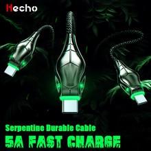 Cable USB de carga rápida 5A LED tipo C, cargador de teléfono móvil para Huawei Mate 20, Samsung S20, S10, Xiaomi Mi9, Redmi Note 8, Cable tipo C