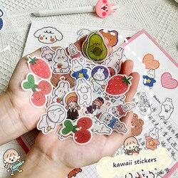 Sharkbang New Arrival 40 sztuk/paczka Kawaii truskawka niedźwiedź królik naklejki do scrapbookingu DIY pamiętnik dekoracyjna naklejka papiernicze