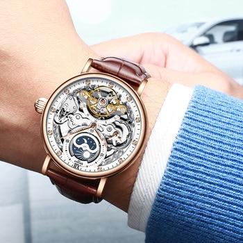 Kinyued skeleton watches mechanical automatic watch men tourbillon sport clock casual business moon wrist watch relojes hombre