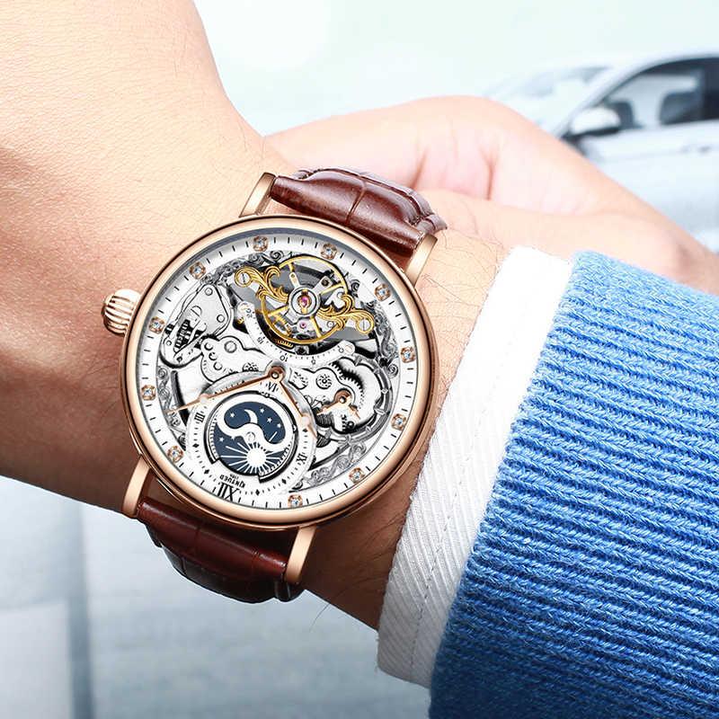 KINYUED الهيكل العظمي الساعات الميكانيكية ساعة أوتوماتيكية الرجال توربيون الرياضة ساعة عادية الأعمال القمر ساعة معصم Relojes Hombre