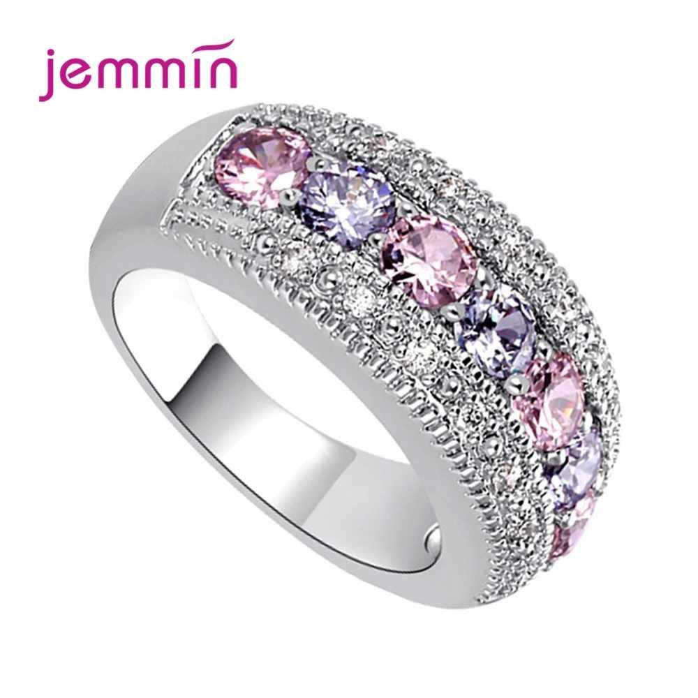 Klasyczne 925 Sterling Silver CZ obrączki dla kobiet zaręczynowe pierścionki zaręczynowe obietnica biżuteria miłośników prezent
