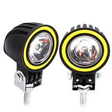цена на Safego 10W Round Led Work Light Spot Beam with Angel Eyes Car Driving Fog Lamp for Motorcycle Offroad ATV SUV 4WD 4x4 Truck Boat