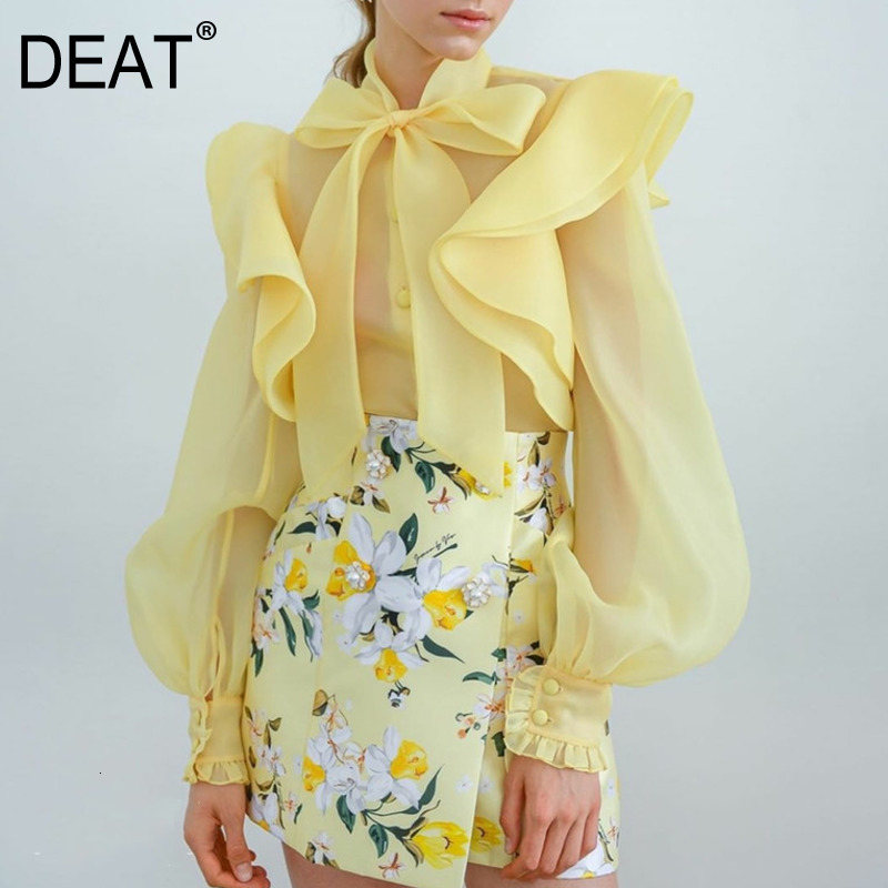 DEAT 2019 New Autumn And Winter Fashion Women Clothes Bow Collar Organza Ruffles Lantern Sleeves See Through Shirt Blouse WJ279