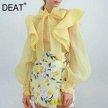 DEAT 2019 yeni sonbahar ve kış moda kadın kıyafetleri yay yaka organze Ruffles fener kollu See Through gömlek bluz WJ279