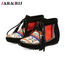 SARAIRIS Brand New Big Size 34-43 Bohemia Style Booties Fringe Height Increasing Women Shoes Woman Casual Autumn Spring Boots