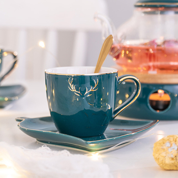 Luxury Household Ceramic Cup Saucer Creative Gold Deer Coffee Mug Snack Dish Set Simple British Afternoon Tea Cup with Spoon