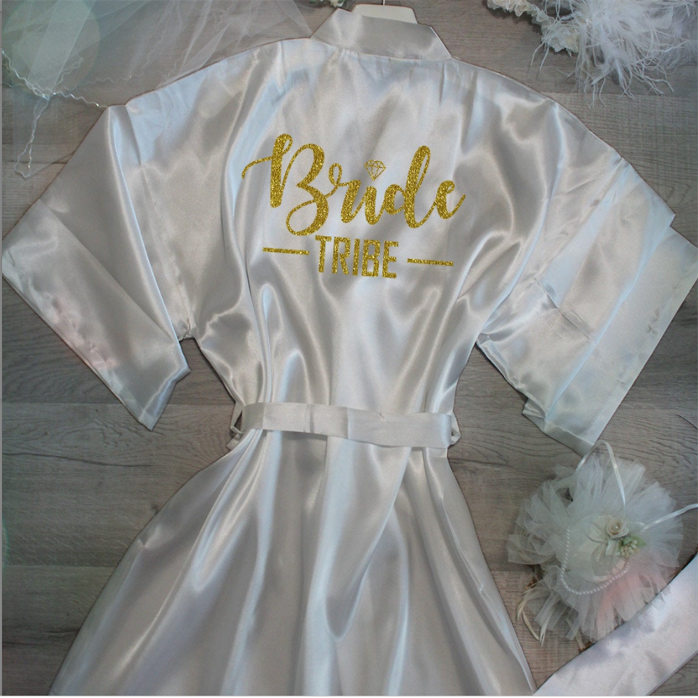 Customized Glitter Gold Satin Flower Girl Robe Diamond Sexy Women Nightwear Hen Weekend Bathrobe Valentine's Gifts Name Peignoir