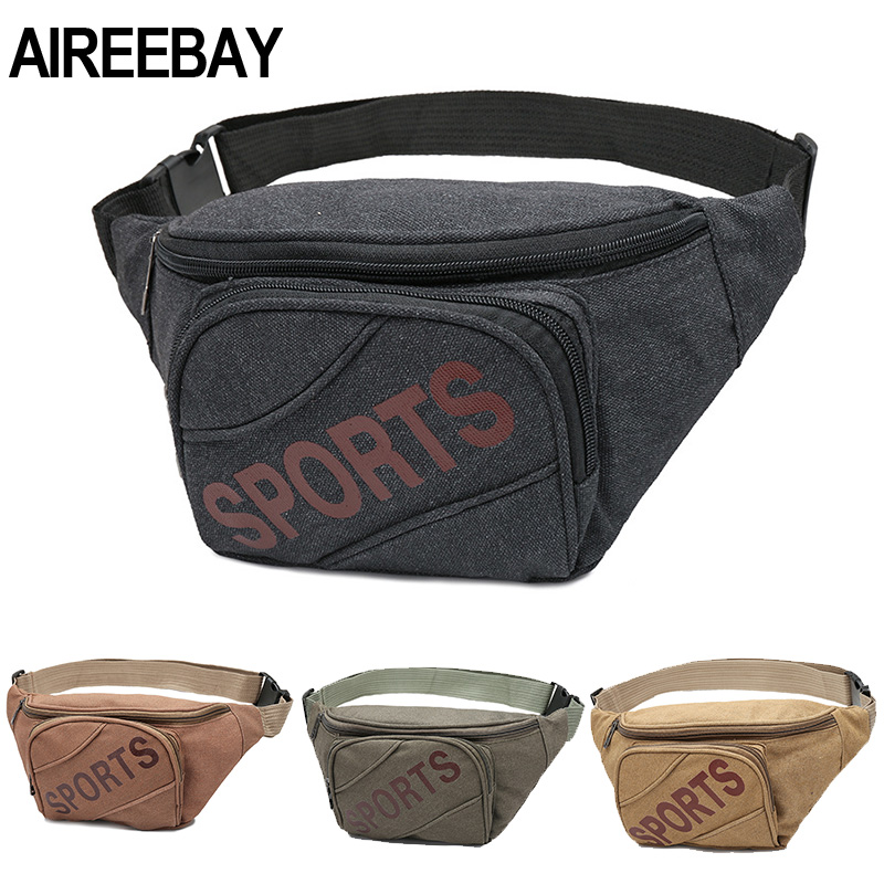 AIREEBAY Outdoor Men Waist Bag Canvas Waist Pack For Women Big Capacity Female Fanny Pack Black Chest Bag Hip Belt Bags
