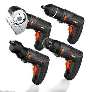 Image 2 - LOMVUM мини USB перезаряжаемая электрическая отвертка набор 4 в Беспроводная отвертка набор 4 головки сменная многофункциональная отвертка