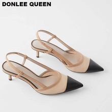 Fashion Thin Heel Sandals Shoes Women Pointed Toe Slingback Sandals For Women Party Shoes Slip On Mule Shoes Elegant Pumps Shoes