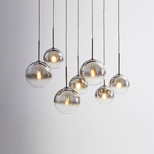 Modern LED Pendant Light Transparent Silver Gold Glass Ball Hanging Lamp Hanglamp Kitchen Fixtures Dining Living Room Luminaire