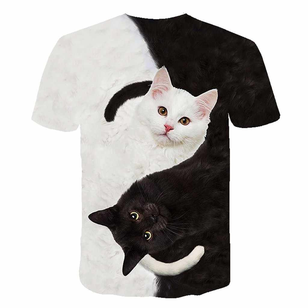 2020 새로운 멋진 티셔츠 남자/여자 3d Tshirt 인쇄 두 고양이 짧은 패션 슬리브 여름 탑스 티셔츠 남성 XXS-6XL