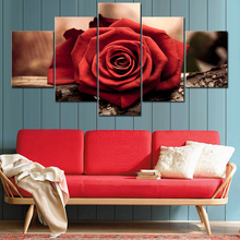 Modular Canvas Pictures HD Printed Wall Art Framework 5 Panels Red Rose Flower Painting Living Room Modern Home Decor Poster