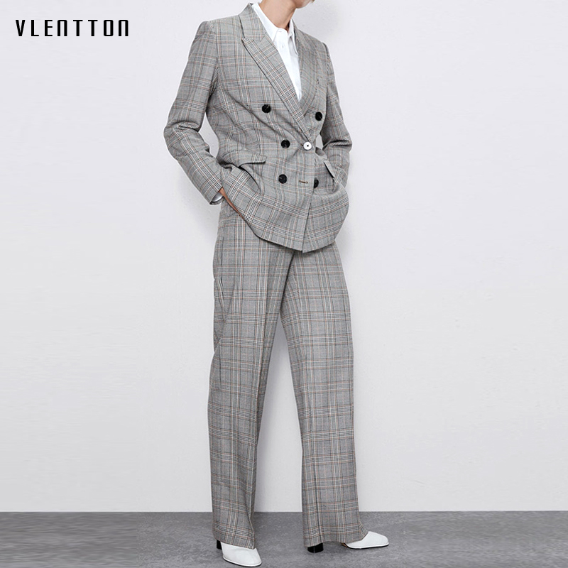 Autumn Winter Vintage Plaid Two Piece Set Women Long Blazer Jacket Coat And Zipper Trousers Female OL Elegant Office Pants Suit