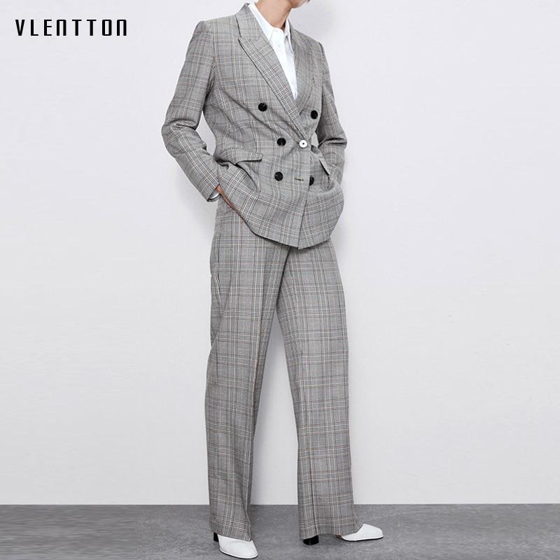 Autumn Winter Vintage Plaid Two Piece Set Women Long Blazer Jacket Coat And Zipper Trousers Female OL Elegant Office Pants Suit