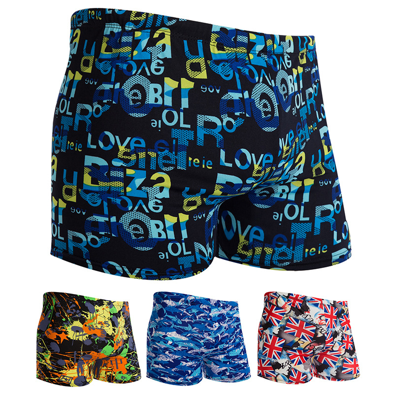0 [Hot Selling] Adult MEN'S Swimming Trunks Large Size Printed Hot Springs Shorts Boxer Men's Swimming Trunks Yk908