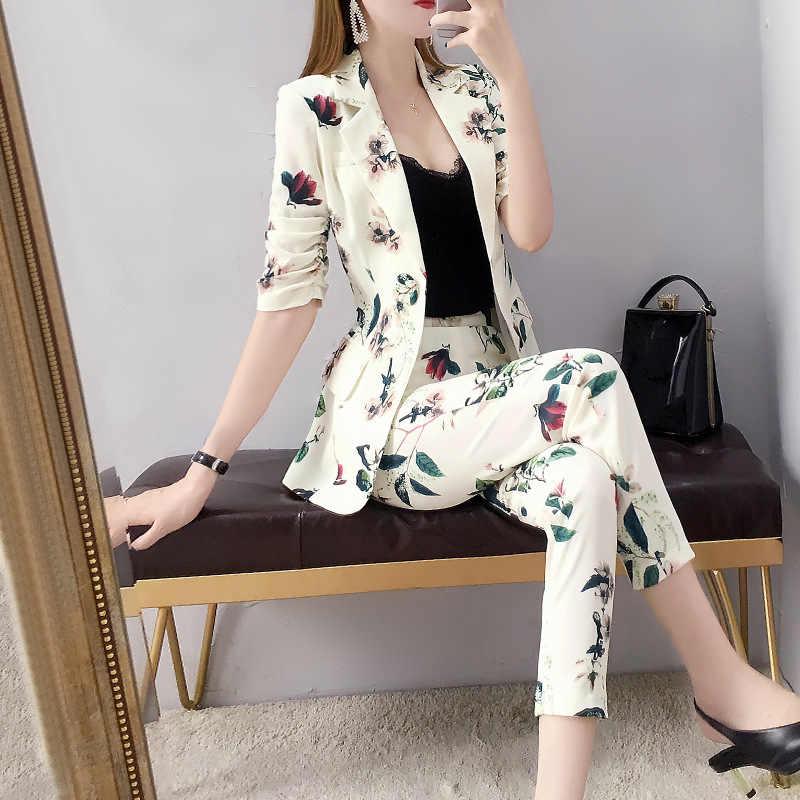 女性の仕事のパンツスーツ OL 2 個セット女性のためのビジネスカジュアルエレガントな花柄プリントブレザーと鉛筆パンツオフィス女性スーツ