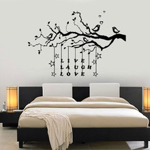 Love With Birds Tree Branch Wall Sticker Live Laugh Quote Art Decoration Home Decals Vinyl Bedroom Murals Removable 3665