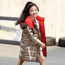 Winter Hooded Jacket for Girls Russian Winter Coat 2019 New Children Jacket Down Feather Outerwear Long Teenager Coat for Boys стоимость