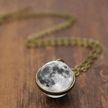 Fashion Women Men Double-sided Grey Full Moon crescent Glass Ball Pendant Necklace Jewelry lucky clover glass cabochon jewelry set women fashion crescent moon chain necklace earrings bracelet set sg