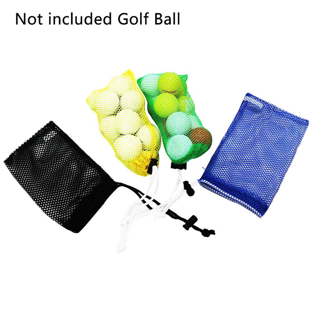 Pouch Accessory Large Storage Golf Ball Bag Tennis Drawstring Closure Mesh Net Random Color Holder Training Aid Nylon Carrying