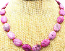 "918+++13x18mm pink Crazy Lace Agate Gems Oval Beads Necklace 18""(China)"