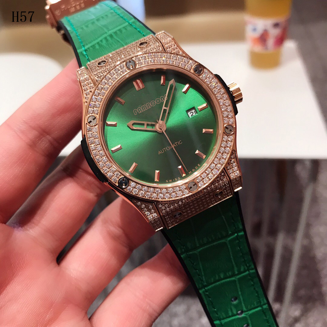 Permalink to Mechanical Luxury Dress Watch Men Genuine Leather Strap Gold  SportWatch Automatic Mechanical Watches Green Dial Watch Diamonds