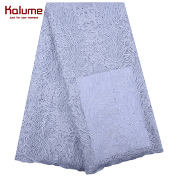 Kalume New Arrival African Dry Lace Fabric 2020 Pure White French Mesh Lace Fabric With Stones For Nigerian Wedding Party  F1840