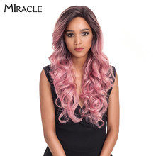 "Miracle Hair Gold Pink Wig 22"" Ombre High Temperature Fiber Heat Resistant Synthetic Hair Long Lace Front Wigs For Black Women(China)"