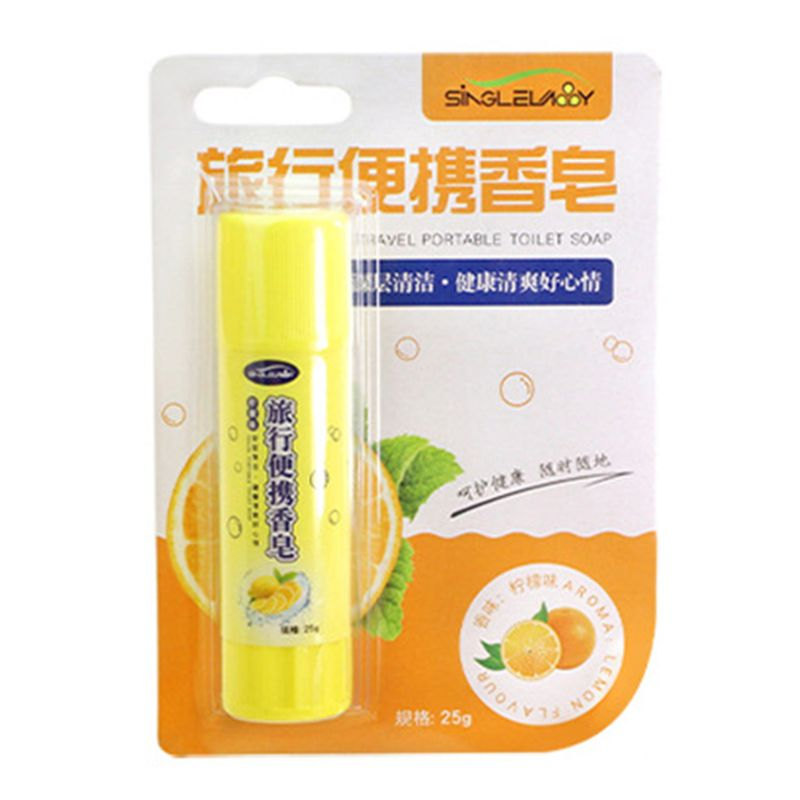 .9.6 X 2.5cm Portable Soap Hand Washing Body Care Antibacterial Lemon Aroma Creative Glue Stick Shaped Outdoor Travel Camping
