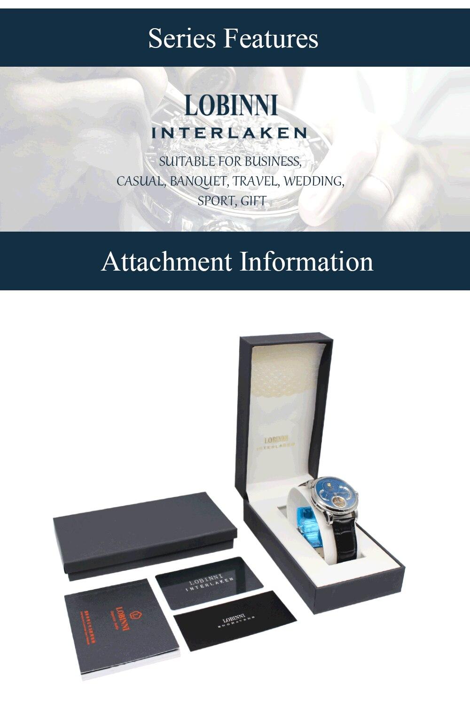 H999cf2c6305b4dbb99fb91b8274223e9t Switzerland LOBINNI Men Luxury Brand Quartz Watch Men Sapphire Waterproof Moon Phase Japan Quartz Movement Male Wristwacth