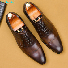 QYFCIOUFU Fashion Men's Oxford Shoes Genuine Leather Dress Shoe Italian Handmade Unique Office Wedding Mens Party Shoes Formal