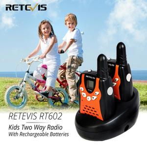 Image 1 - Retevis RT602 Walkie Talkie Kids Rechargeable 2pcs PMR446 FRS 0.5W Children Toy Two way Radio Flashlight Festival Christmas Gift