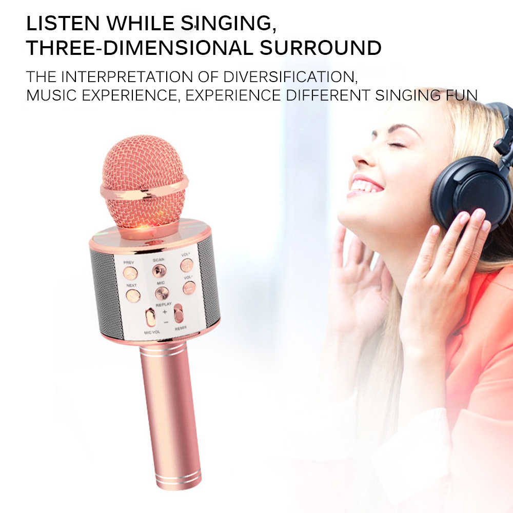 Rechargeable Wireless Microphone Music Box With Colorful LED Light For Home KTV Outdoor Party Music Playing Singing Lightweight
